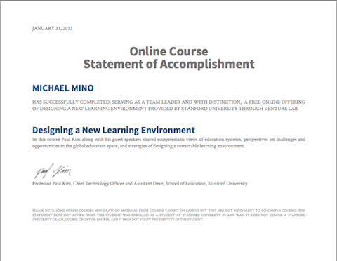 MM MOOC Certificate of Accomplishment