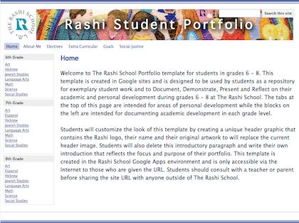 The Rashi School Student Portfolio in Google Sites.