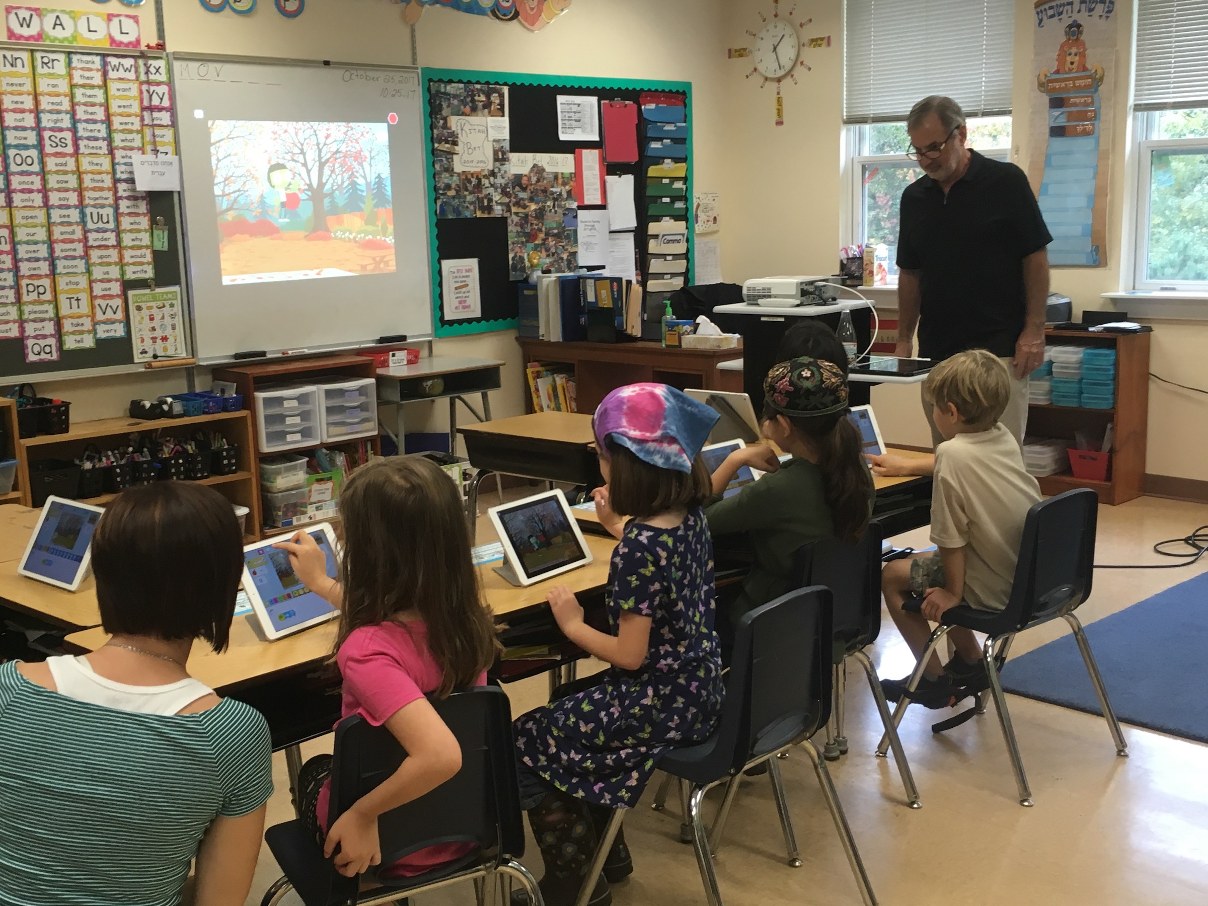 MM Modeling iPads in 2nd Grade class at LGA
